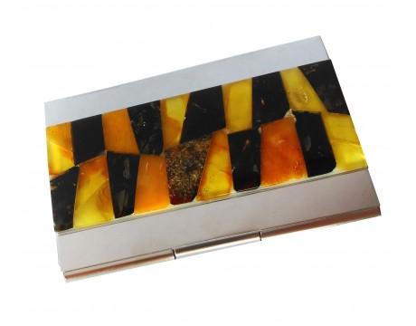 Vizitinių kortelių dėklas su gintaro mozaika