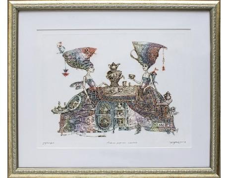 """Grafika """"Linksmo popiečio arbatėlė"""", 52x63cm"""