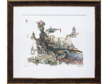"Grafika ""Miesto sargas"", 53x59cm"