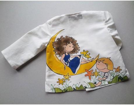 """Lino krikštynų kostiumėlis """"Išdykėliai"""" dekoruotas vienetiniu piešiniu"""