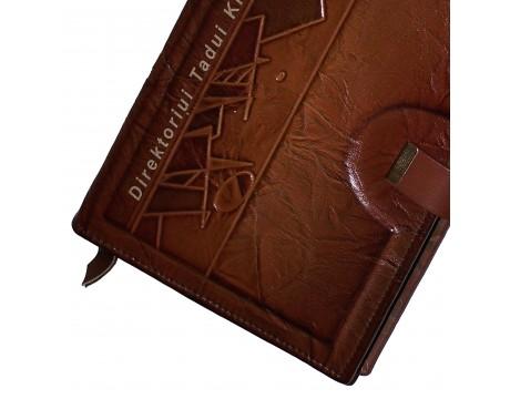 """Vardinė darbo knyga/kalendorius """"Ornamentas"""" odiniu viršeliu, A5"""