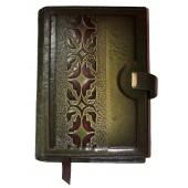 """Kalendorius/darbo knyga """"Gėlėtas raštas"""" odiniu viršeliu, A5"""