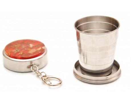 Kompaktiška taurė su gintaro mozaika su raktų laikikliu (didelė/maža)