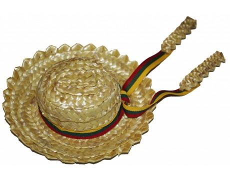 Šiaudų skrybėlytė su trispalve pinta rankomis